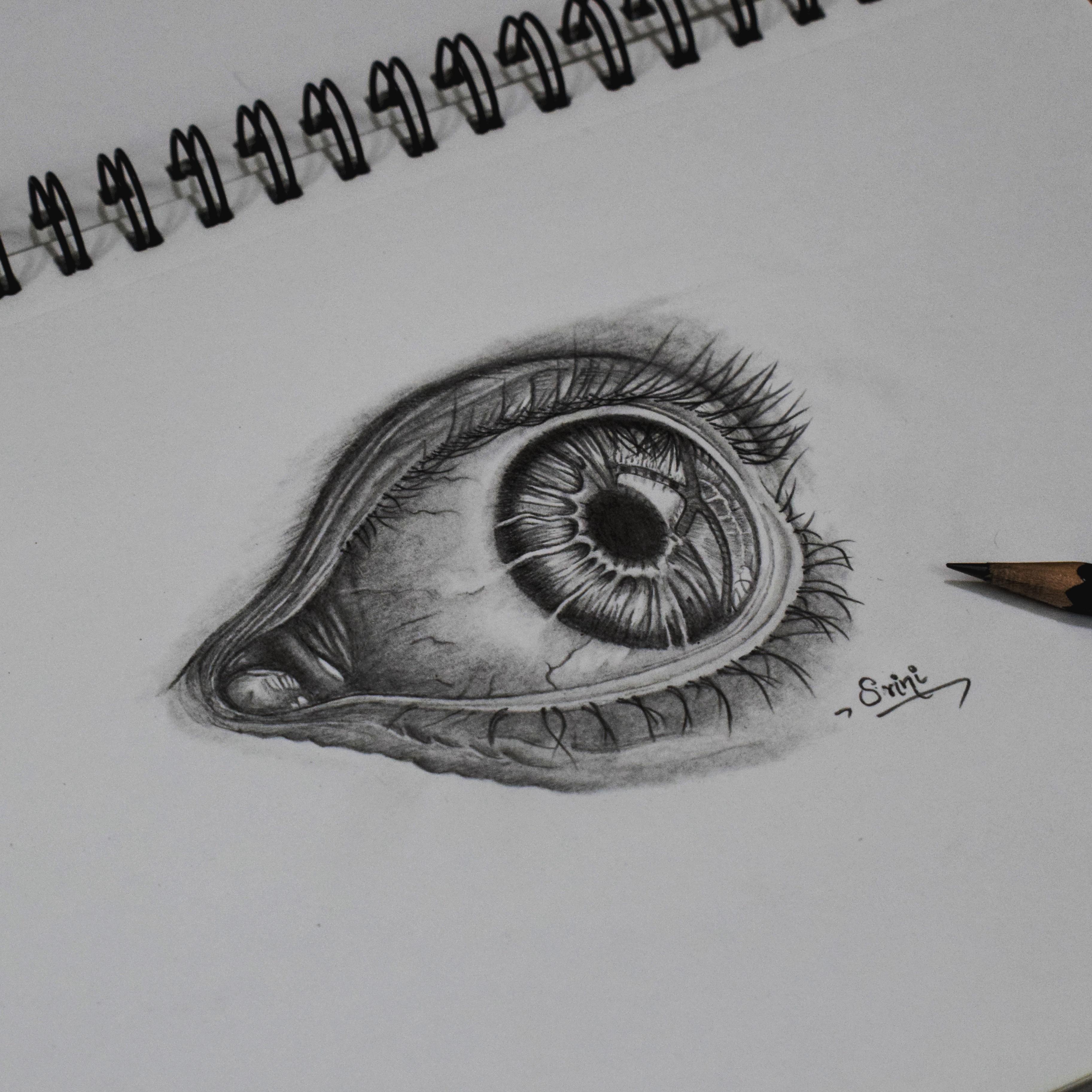 Drawing an eye pencil art