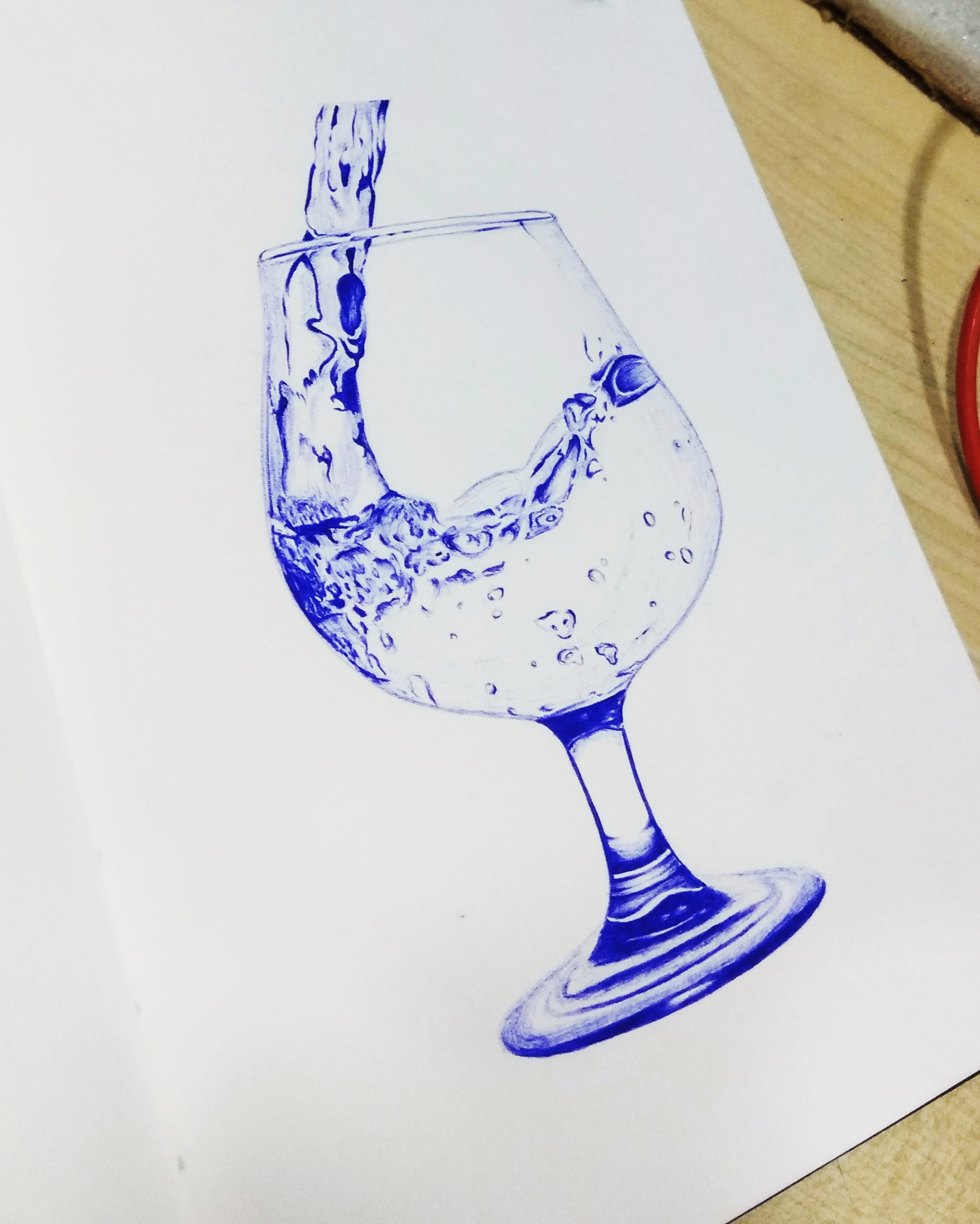 Glass of Water – Ball pen drawing – creativentechno