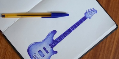 Guitar ball pen drawing