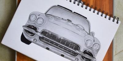 pencil drawing of car